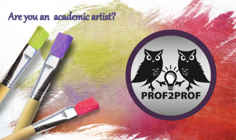 """Three paint brushes next to tri-color brush strokes, with Prof2Prof logo and the question: """"Are you an academic artist?"""""""
