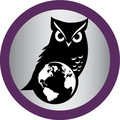 An owl stands behind an image of a globe.